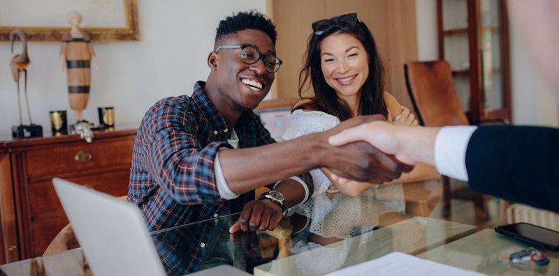 Homebuyers shaking hands