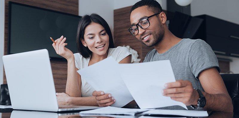 Husband and wife preparing finances